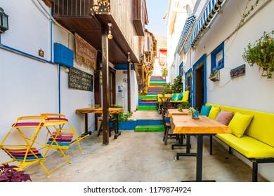 Kalkan, Turkey - September 10, 2018 :  Colorful street view in Kalkan Town of Turkey.