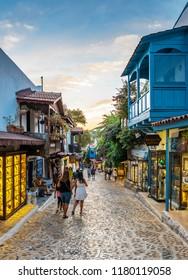 Kalkan, Turkey - September 11, 2018 :  Colorful street view in Kas Town of Turkey.