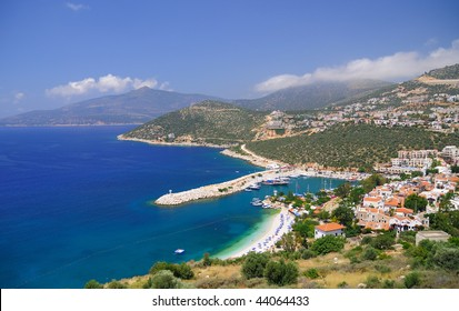 Kalkan view from above, sea and mountains, Turkey