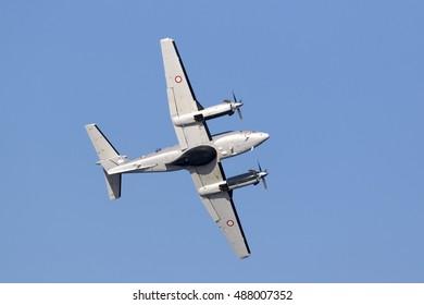 Kalkara, Malta September 23, 2016: Malta Armed Forces Hawker Beechcraft B200 King Air [AS1227] performing a low pass over the sea.