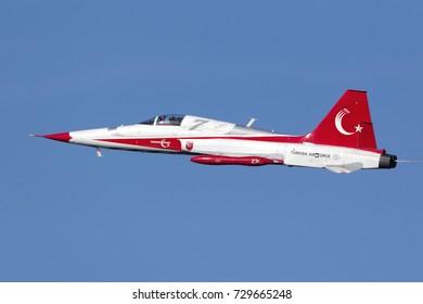 Kalkara, Malta September 24, 2017: Northrop (Canadair) NF-5A-2000 (CL-226) of the Turkish Air Force display team Turkish Stars display over the sea off the East Coast of Malta.