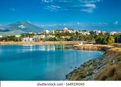 Kalkis, Greece-Oct 31, 2018: Panoramic view at Kahlkis city on island Evia ,  Greece.