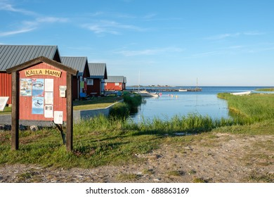 KALLAHAMN, SWEDEN - JULY 9: Kallahamn harbor on July 9, 2017 in Kallahamn on Swedish Baltic sea island Oland. This is a historic harbor used for export of limestone already in the 13th century.