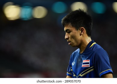 Kallang,Singapore - JUNE 15:Rungrath Poomchantuek of Thailand in action during the 28th SEA Games Singapore 2015 match between Thailand and Myanmar at Singapore National Stadium on JUNE15 2015
