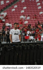 Kallang-singapore-19jul2019:Michael carrick Staff coach of manchester united in action during official training before icc2019 at national stadium,singapore