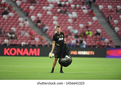 Kallang-singapore-20jul2019:Michael carrick staff coach of manchester united in action during icc2019 between manchester united 1-0 inter milan at national stadium,singapore