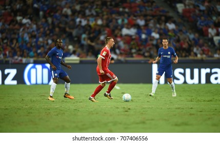 Kallang-SINGAPORE-25jul,2017:Franck ribery[R] player of Bayern munich in action during icc 2017 between bayern munich and chelsea at national stadium,singapore