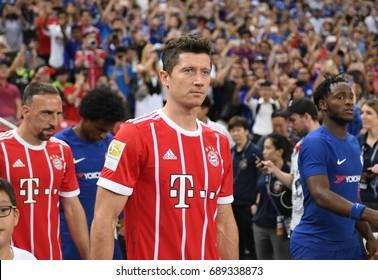 Kallang-SINGAPORE-25jul,2017:Robert lewandowski player of Bayern munich in action during icc 2017 between bayern munich and chelsea at national stadium,singapore