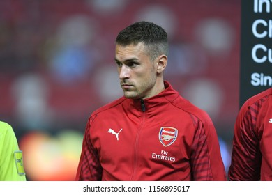 Kallang-Singapore-26Jul2018:Aaron ramsey 8 player of arsenal in action during icc2018 between arsenal against at atletico de madrid at national stadium,singapore