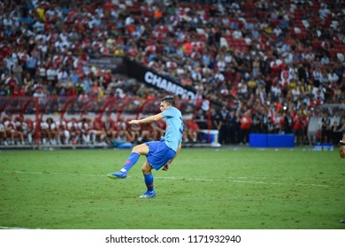 Kallang-Singapore-26Jul2018:Borja garces #32 Player of Atletico madrid in action before icc2018 between arsenal against at atletico de madrid at national stadium,singapore