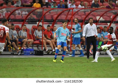 Kallang-Singapore-26Jul2018:Borja garces #33 Player of Atletico madrid in action before icc2018 between arsenal against at atletico de madrid at national stadium,singapore