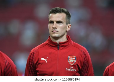 Kallang-Singapore-26Jul2018:Rob holding 16 player of arsenal in action during icc2018 between arsenal against at atletico de madrid at national stadium,singapore