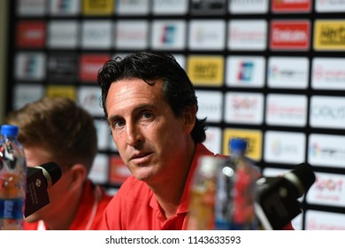 Kallang-Singapore-26Jul2018:Unai emery head coach of arsenal press conference after icc2018 between arsenal against at atletico de madrid at national stadium,singapore