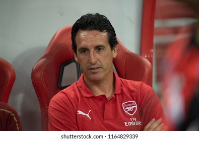 Kallang-Singapore-26Jul2018:Unai emery head coach of arsenal in action during icc2018 between arsenal against at atletico de madrid at national stadium,singapore