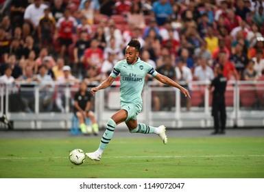 Kallang-Singapore-28Jul2018:Pierre-Emerick Aubameyang #14 Player of arsenal in action during icc2018 between arsenal against at paris saint-german at national stadium,singapore