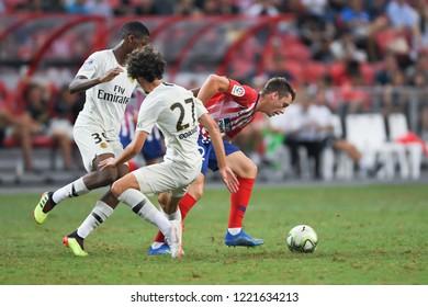 Kallang-Singapore-30Jul2018:Borja garces #32 player of Atletico madrid in action during icc2018 between Atletico madrid against paris saint-german at national stadium,singapore