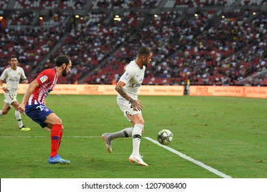 Kallang-Singapore-30Jul2018:Layvin Kurzawa #20 player of PSG in action during icc2018 between Atletico madrid against at paris saint-german at national stadium,singapore