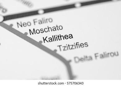 Kallithea Station. Athens Metro map.