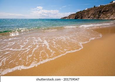 Kalo Livadi beach in Mykonos city, Greece