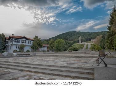 Kalofer, Bulgaria - August 25, 2018: Memorial complex, enormous granite statue monument of Hristo Botev, poet and revolutionary, Bulgarian National Revival period of the 19th century. Historical touri