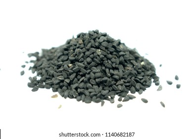 Kalonji (Black cumin) seeds on white background