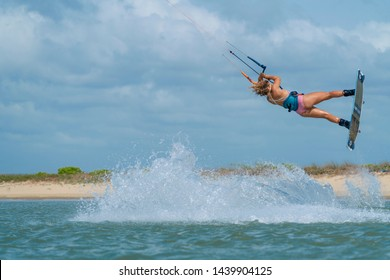 Kalpitiya Sri Lanka - June 10th 2019: Paula Novotna during a kitesurf training session on Wella Island in Sri Lanka