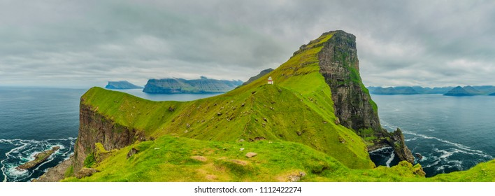 Kalsoy Island and Kallur lighthouse, Faroe Islands, Beautiful Panoramic Photo Of Nordic Islands