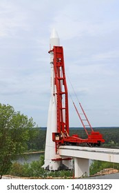 Kaluga, Moscow region / Russia - may, 10, 2019: life-size model of a white rocket