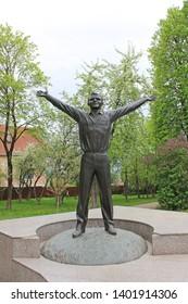 Kaluga, Moscow region / Russia - may, 10, 2019: bronze monument to the first cosmonaut Yuri Gagarin