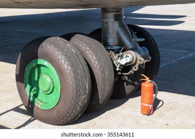 Kaluga region, Russia - August 17, 2013: The nose gear of Ilyushin Il-76 at the open day on the airbase in Ermolino
