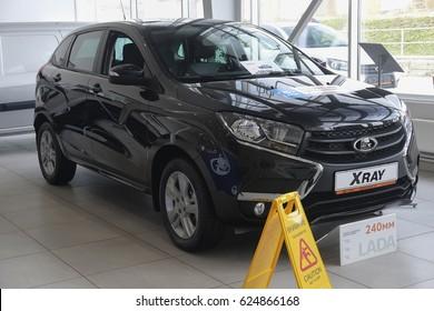 "Kaluga, Russia - April, 20, 2017: Cars in a dealership of ""Lada"" in Kaluga, Russia"