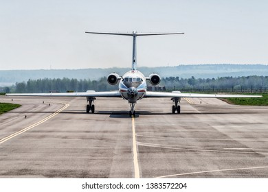 Kaluga, Russia - April 27 2019: airplane Tu-134  on the runway in internetional airport in Kaluga. front view