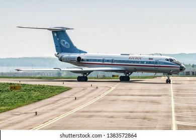 Kaluga, Russia - April 27 2019: airplane Tu-134  on the runway in internetional airport in Kaluga