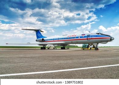Kaluga, Russia - April 27 2019: airplane Tu-134  on the runway in international airport in Kaluga