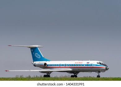 Kaluga, Russia - April 27 2019: airplane Tu-134  in international airport in Kaluga with copy space