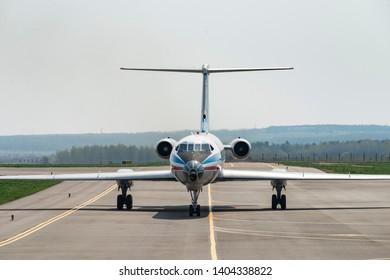 Kaluga, Russia - April 27 2019: airplane Tu-134 on the runway in international airport in Kaluga , front view