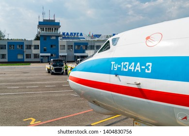 Kaluga, Russia - April 27 2019: airplane Tu-134 close up in international airport in Kaluga