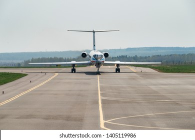 Kaluga, Russia - April 27 2019: airplane Tu-134 on the runway in international airport in Kaluga. Front view of Tupolev