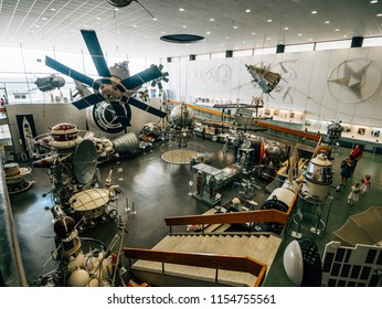 Kaluga, Russia - Circa August 2018 : State Museum of the History of Cosmonautics. K.E. Tsiolkovsky in Kaluga. Interior of Russian space museum inside