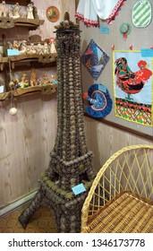 "Kaluga, Russia, July 12, 2014: Eiffel Tower of cones. Club-Museum ""House of Masters"", Kaluga"