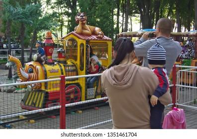 Kaluga, Russia - July 12, 2014: Carousel in the children's park of Kaluga