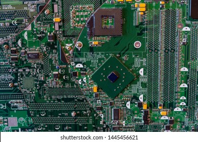 Kaluga, Russia - June 5, 2019: Fragments of chips with different chips, contacts and capacitors