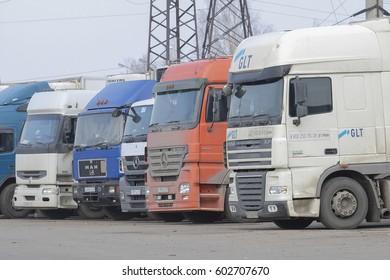 Kaluga, Russia - March, 16, 2017: Trucks on a parking in Kaluga
