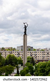 Kaluga, Russia - May 11, 2019: View of Victory Square (Ploshchad Pobedy) and monument from the Sky restaurant.