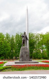 Kaluga, Russia - May 11, 2019: View of monument to Tsiolkovsky at Peace Square