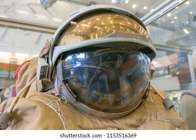 Kaluga, Russia, September 17, 2017: Russian astronaut spacesuit in Kaluga space museum