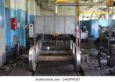 KALUGA, RUSSIAN FEDERATION - JULY 5, 2019: Repair plant of railway elements (train wheel couple) by automated nondestructive testing. Robotic technologies and automation in Russian industry