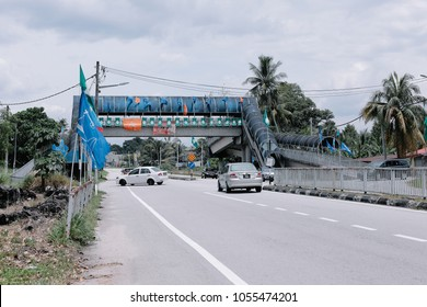 Kalumpang, Selangor / Malaysia - March 26, 2018: Lots of Malaysian Party that will participate in the upcoming Malaysia General Election already being organized and put all over the road.