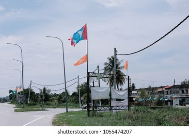 Kalumpang, Selangor, Malaysia, March 26, 2018 : Lots of Malaysian Party that will participate in the upcoming Malaysia General Election already being organized and put all over the road.