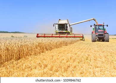 Kalush, Ukraine August 2, 2017: On the harvest of cereals near the town Kalush, Western Ukraine